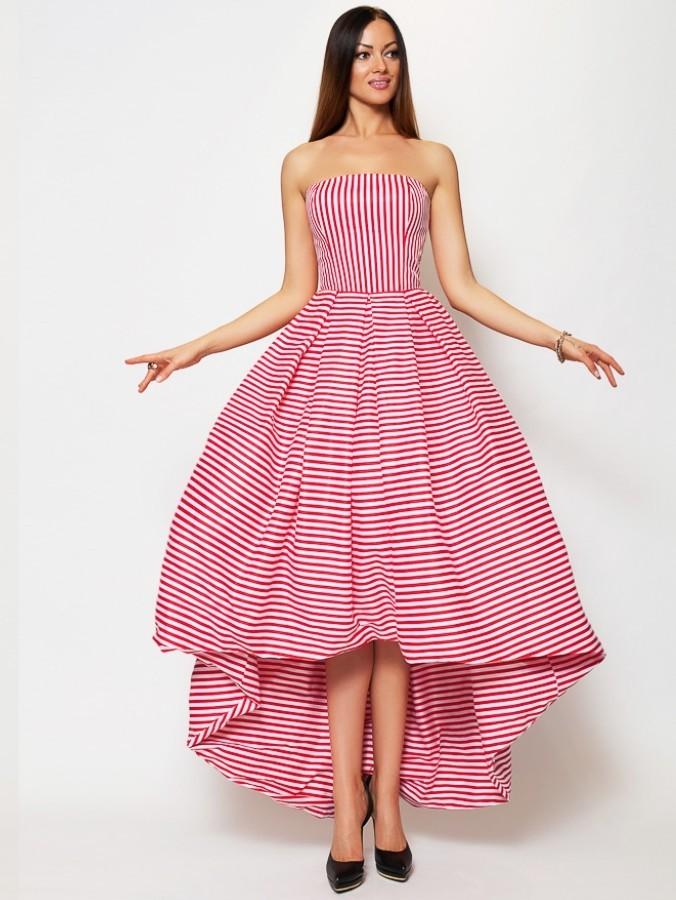 bc5fe1636f1 Длинное платье с пышной юбкой без рукавов LUCY SonyaL 134 красное - Длинное  платье с пышной юбкой