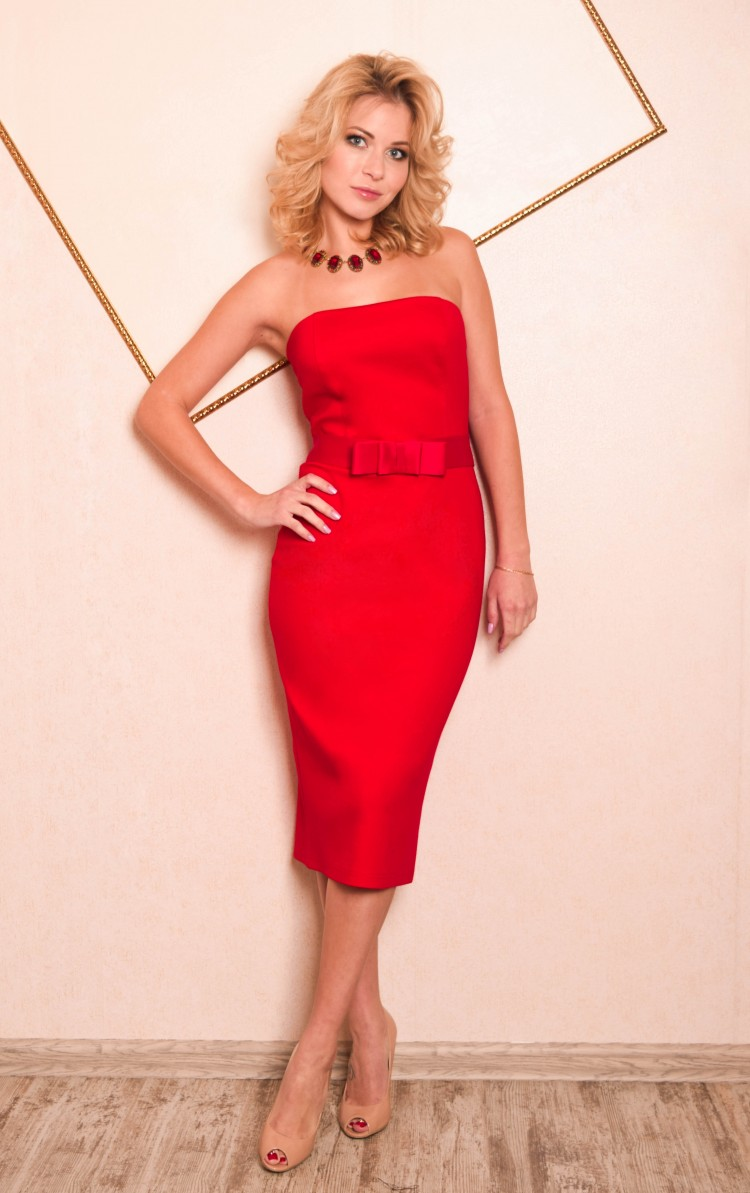 Вечернее Платье Миди Красное