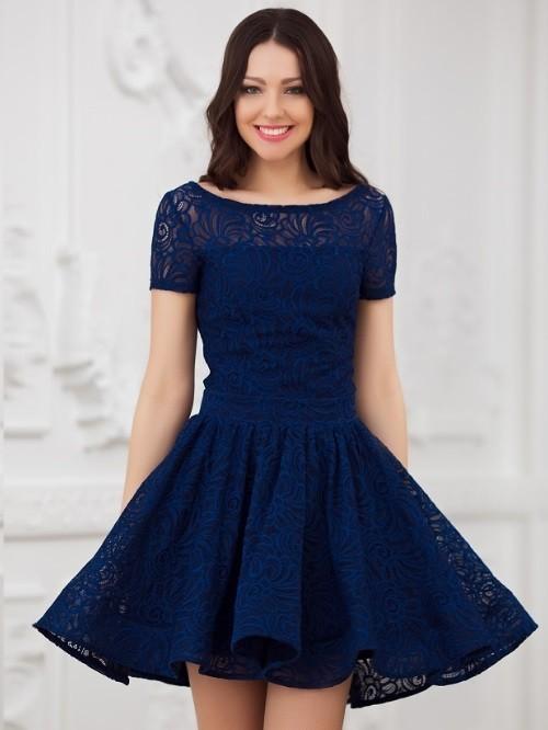 be224a8d175ba56 Купить к ружевное платье с пышной юбкой солнце eva 5231т-синее в ...